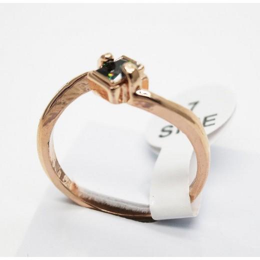 Filigraner rosegold Ring mit quadratischem vitrail Zirkon als Modeschmuck Fingerring