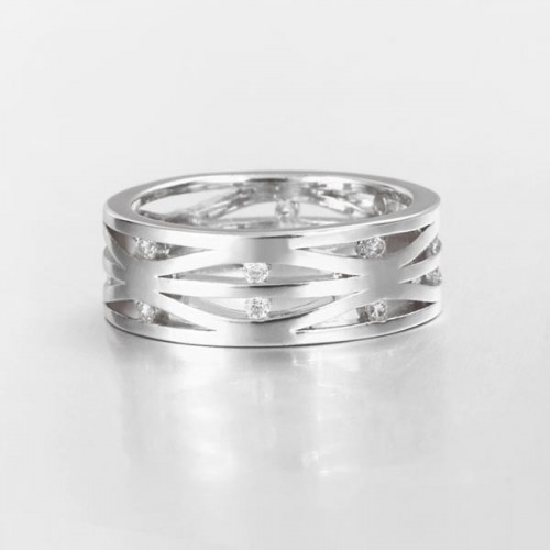 Filigraner silberfarben Ring mit transparenten Minizirkonen als Modeschmuck Fingerring