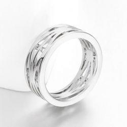 Filigraner silber Ring mit transparenten Minizirkonen als Modeschmuck Fingerring