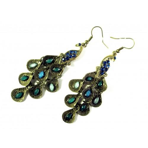 Antikgold Pfau Ohrhänger mit türkisen und blauen Steinen Modeschmuck Ohrringe