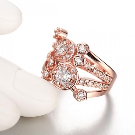 Filigraner echtrosevergoldeter Ring mit Zirkonen besetzt als Modeschmuck Fingerring