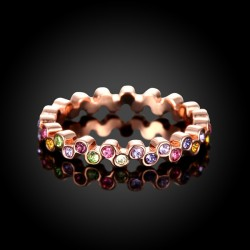 Schmaler rosegold Ring mit bunten Strasssteinchen Modeschmuck Fingerring