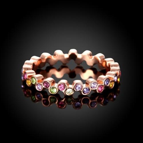 Schmaler rosegoldfarbener Ring mit bunten Strasssteinchen Modeschmuck Fingerring