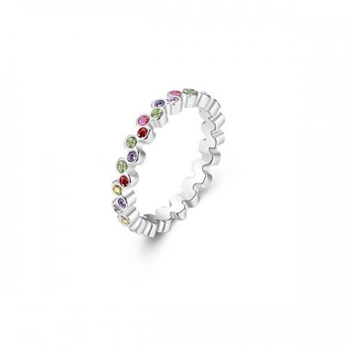 Silberfarbener Ring mit bunten Mini-Strasssteinen als Modeschmuck Fingerring