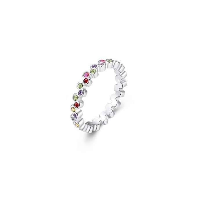 Schmaler silber Ring mit bunten Mini-Strasssteinen als Modeschmuck Fingerring