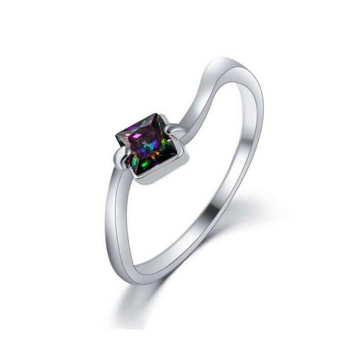 Filigraner silber Ring mit quadratischem vitrail Zirkon als Modeschmuck Fingerring