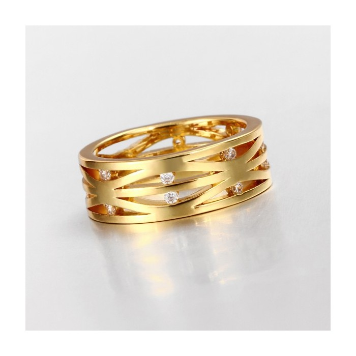 Filigraner gold Ring mit transparenten Minizirkonen als Modeschmuck Fingerring