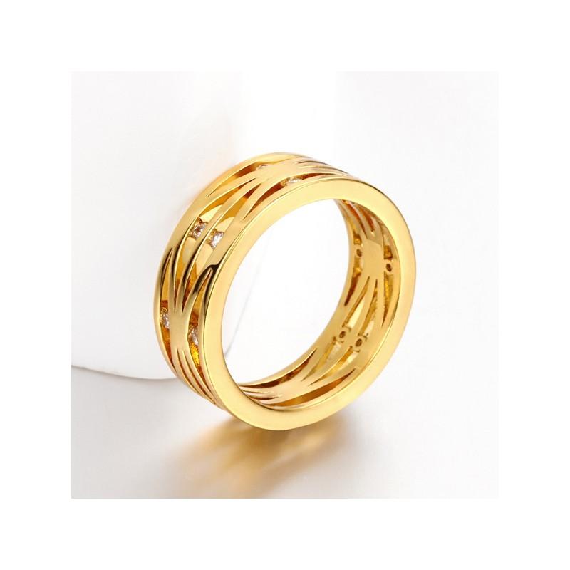 Modeschmuck gold ring  Gold Ring mit transparenten Minizirkonen als Modeschmuck Fingerring
