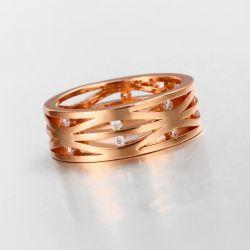 Filigraner rosegold Ring mit transparenten Minizirkonen als Modeschmuck Fingerring