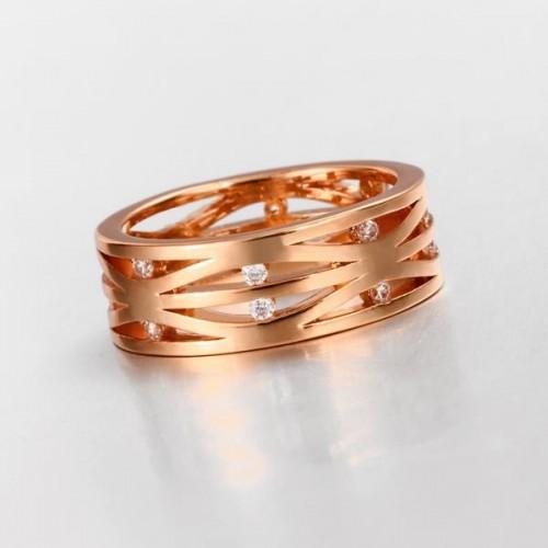Filigraner rosegoldfarbener Ring mit transparenten Minizirkonen als Modeschmuck Fingerring