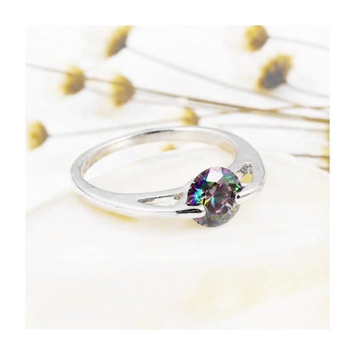 Filigraner silber Ring mit rundem vitrail Zirkon als Modeschmuck Fingerring