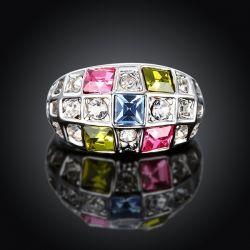 Silber Ring mit bunten und transparenten Strasssteinen als Modeschmuck Fingerring