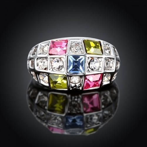 Ring in silberfarben mit bunten und Strasssteinen als Modeschmuck Fingerring
