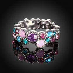Filigraner silber Ring mit verschiedenen bunten Strasssteinen als Modeschmuck Fingerring