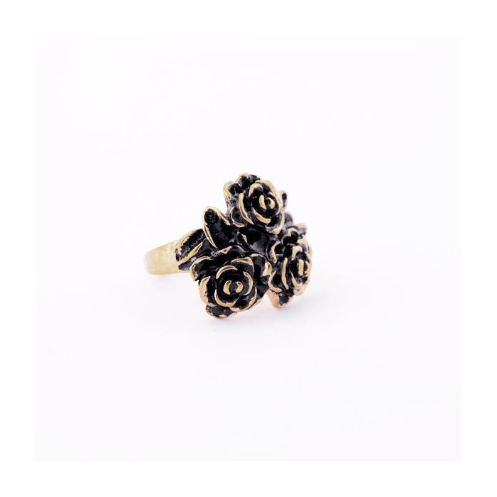 Vintage Ring in antikgold mit drei Rosen als Modeschmuck Fingerring