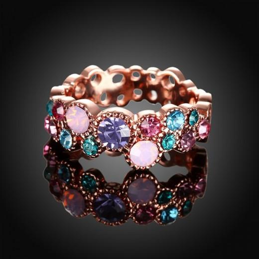 Filigraner rosegold Ring mit bunten Strasssteinchen Modeschmuck Fingerring
