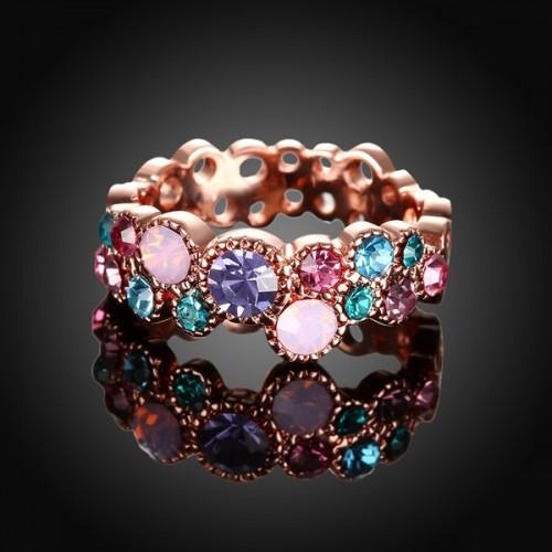 Filigraner rosegoldfarbener Ring mit bunten Strasssteinchen Modeschmuck Fingerring