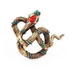 Vintage Ring in antikgold mit großer Schlange und Strass Eyecatcher als Modeschmuck Fingerring