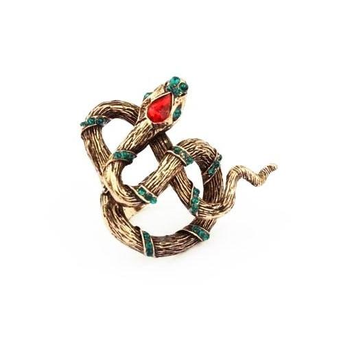 Vintage Ring in antikgoldfarben mit großer Schlange und Strass Eyecatcher als Modeschmuck Fingerring