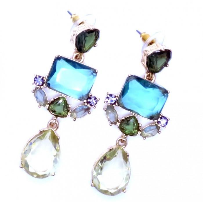Opulente gold Ohrhänger mit geschliffenem Kristallglas Modeschmuck Ohrringe