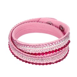 Rosa Wickelarmband mit Strass und Kunstleder als Modeschmuck Armband zum Wickeln
