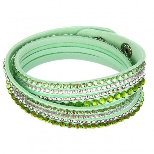 Grünes Wickelarmband mit Strass und Kunstleder als Modeschmuck Armband zum Wickeln