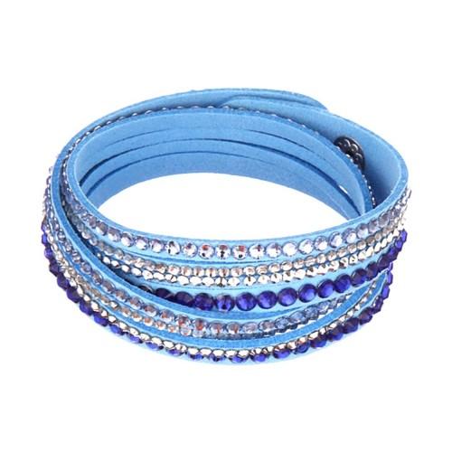 Blaues Wickelarmband mit Strass und Kunstleder als Modeschmuck Armband zum Wickeln