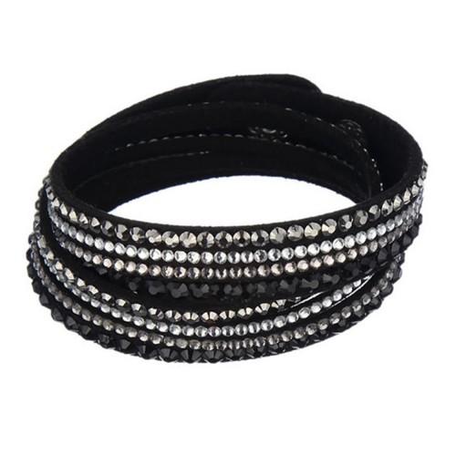 Schwarzes Wickelarmband mit Strass und Kunstleder als Modeschmuck Armband zum Wickeln