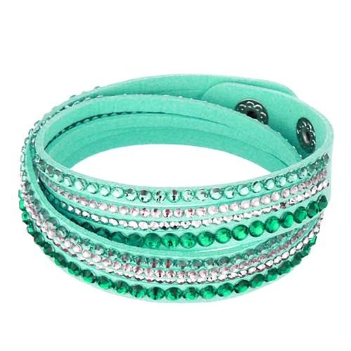 Türkises Wickelarmband mit Strass und Kunstleder als Modeschmuck Armband zum Wickeln