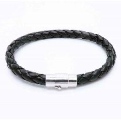Schwarzes PU-Lederarmband aus geflochtener Kordel und Magnetverschluss als Modeschmuck Armband