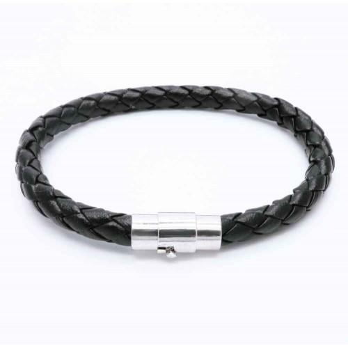 Schwarzes PU-Larmband aus geflochtener Kordel und Magnetverschluss als Modeschmuck Armband
