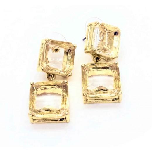Gold Ohrhänger mit geschliffenem Kristallglas citrinfarben Modeschmuck Ohrringe