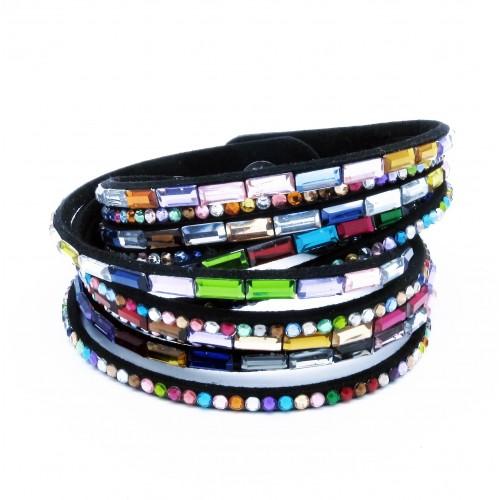 Schwarzes Wickelarmband mit bunten Strass Steinen und Kunstleder als Modeschmuck Armband zum Wickeln