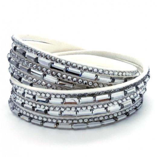 Weißes Wickelarmband mit Strass Steinen und Kunstleder als Modeschmuck Armband zum Wickeln