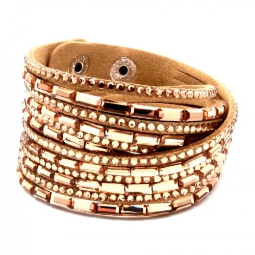 Hellbraunes Wickelarmband mit rosegold Strass Steinen und Kunstleder als Modeschmuck Armband zum Wickeln