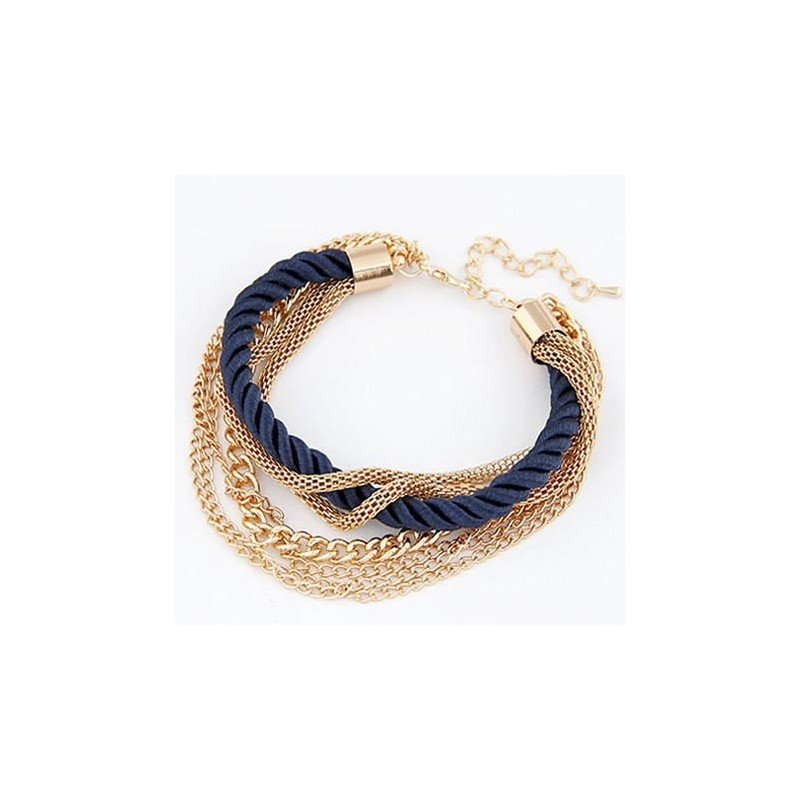 Modeschmuck armband gold  Dunkelblau gold Armband mit Kordel und Kettchen Modeschmuck Armband