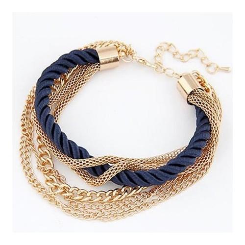 Dunkelblau goldfarben Armband mit Kordel und Kettchen als Modeschmuck