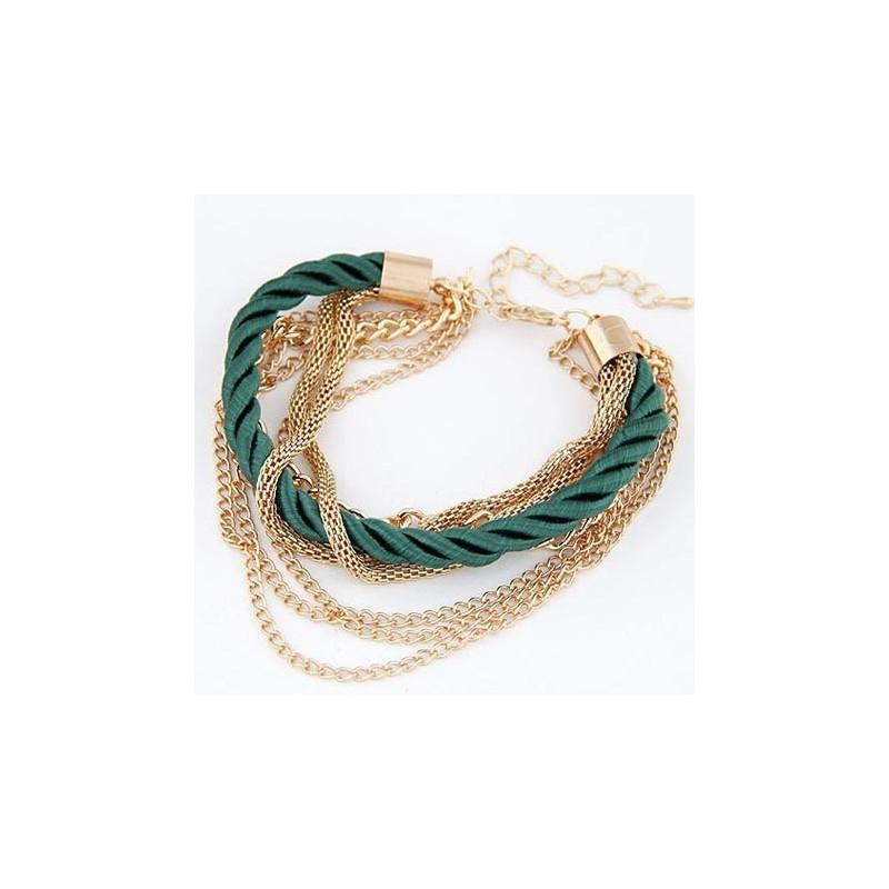 Modeschmuck armband  Dunkelgrün gold Armband mit Kordel und Kettchen Modeschmuck Armband
