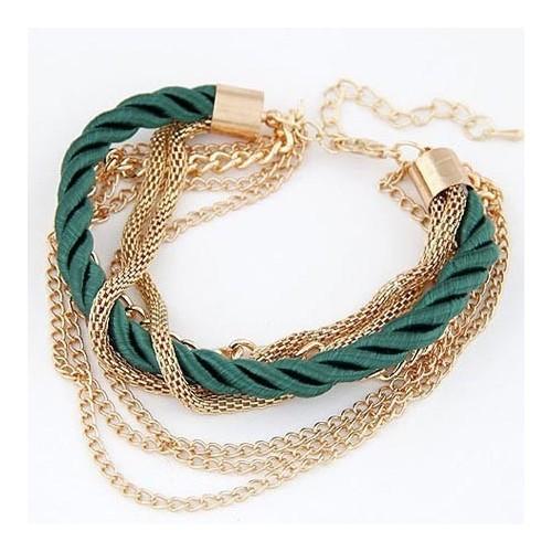 Dunkelgrün goldfarben Armband mit Kordel und Kettchen als Modeschmuck.
