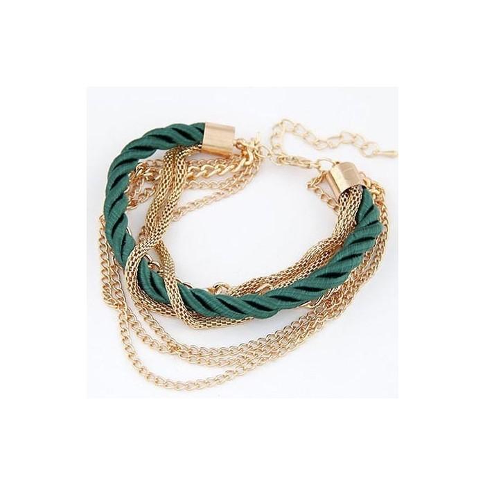 Dunkelgrün gold Armband mit Kordel und Kettchen als Modeschmuck Armband