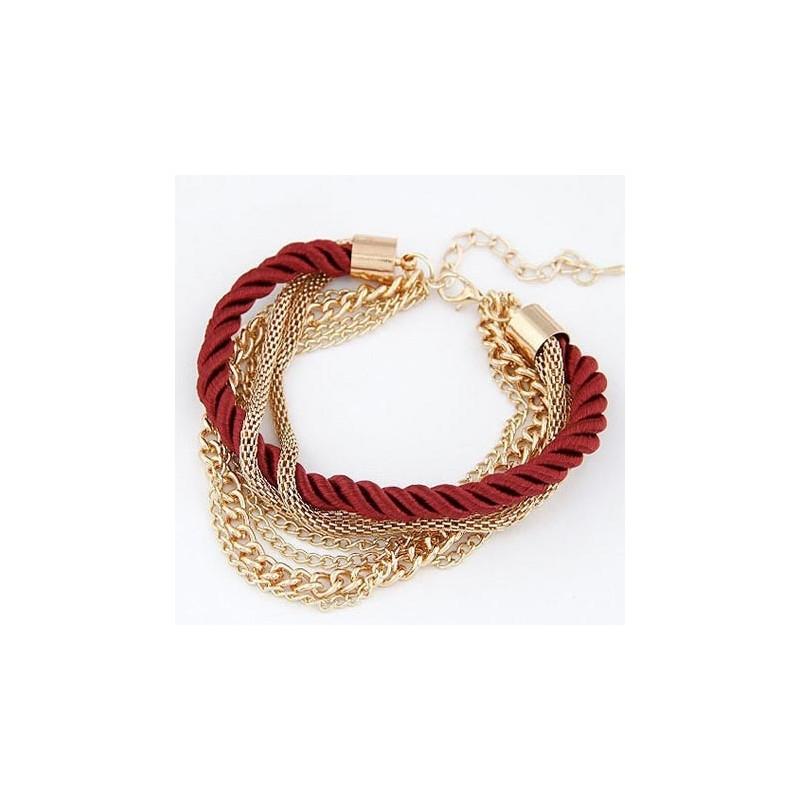 Modeschmuck armband gold  Dunkelrot gold Armband mit Kordel und Kettchen Modeschmuck Armband