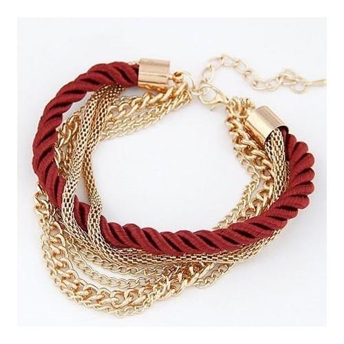 Dunkelrot goldfarben Armband mit Kordel und Kettchen als Modeschmuck