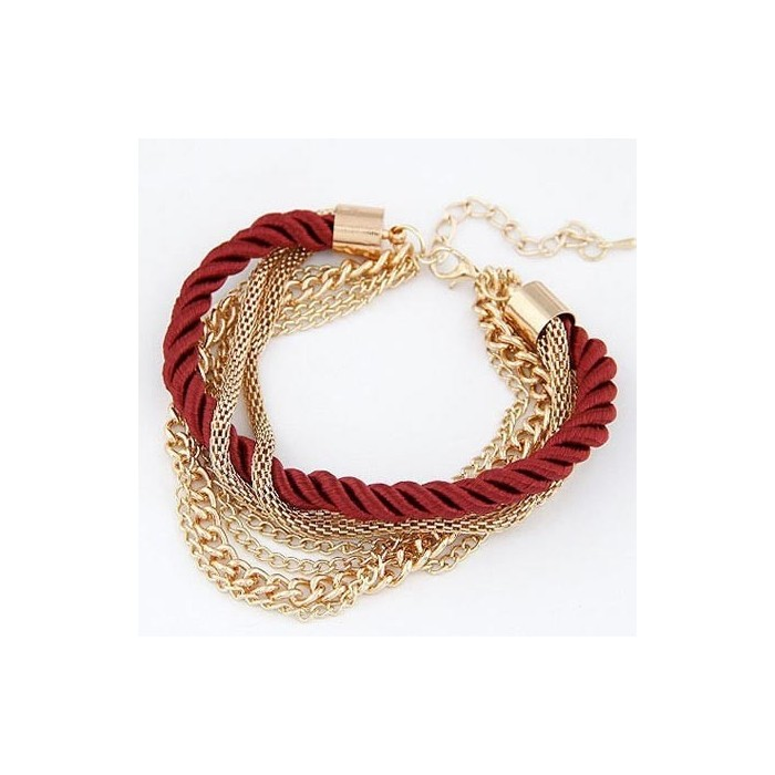 Dunkelrot gold Armband mit Kordel und Kettchen als Modeschmuck Armband
