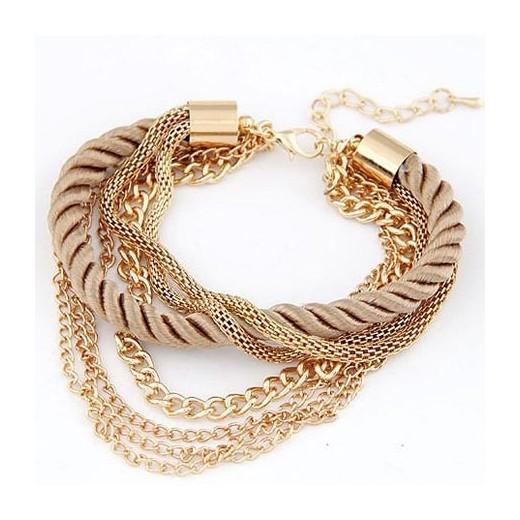 Modeschmuck armband  Honigfarbenes gold Armband mit Kordel und Kettchen Modeschmuck Armband