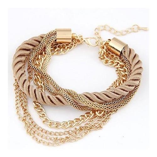 Goldfarbenes Armband mit Kordel und Kettchen als Modeschmuck Armband