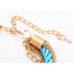 Türkis gold Armband mit Kordel und Kettchen als Modeschmuck Armband