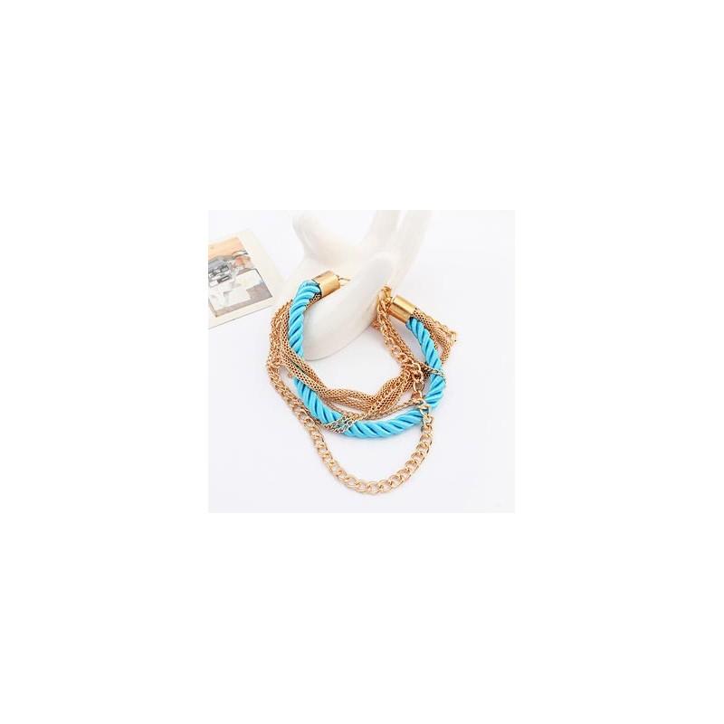 Modeschmuck armband gold  Türkis gold Armband mit Kordel und Kettchen Modeschmuck Armband