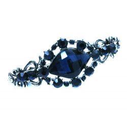 Nachtblaue Haarspange mit Strass 70x30mm Modeschmuck Haarschmuck