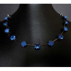 Blaues Strasscollier Collier mit Strasssteinen kurze Modeschmuck Halskette