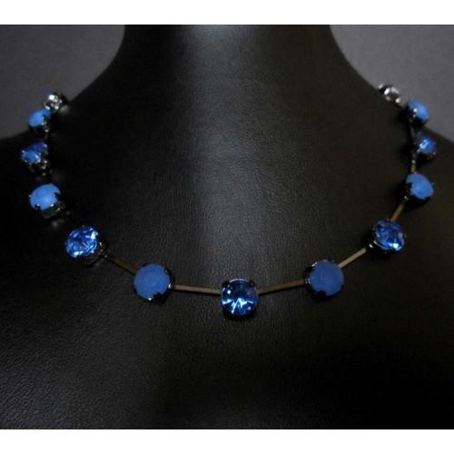 Saphirblaues Strasscollier Collier kurze Modeschmuck Halskette